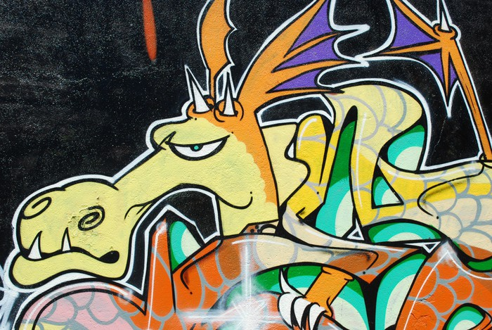 Graffiti Wall (Dragon) Wall Mural • Pixers® • We live to change