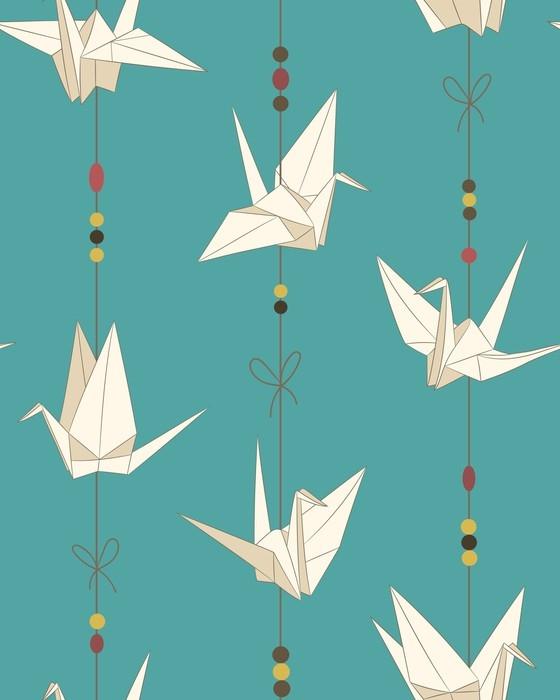 Nálepka Pixerstick Bezproblémový vektorový vzor s papírovými jeřáby. origami bird figure. japonský symbol štěstí a radosti - Koníčky a volný čas