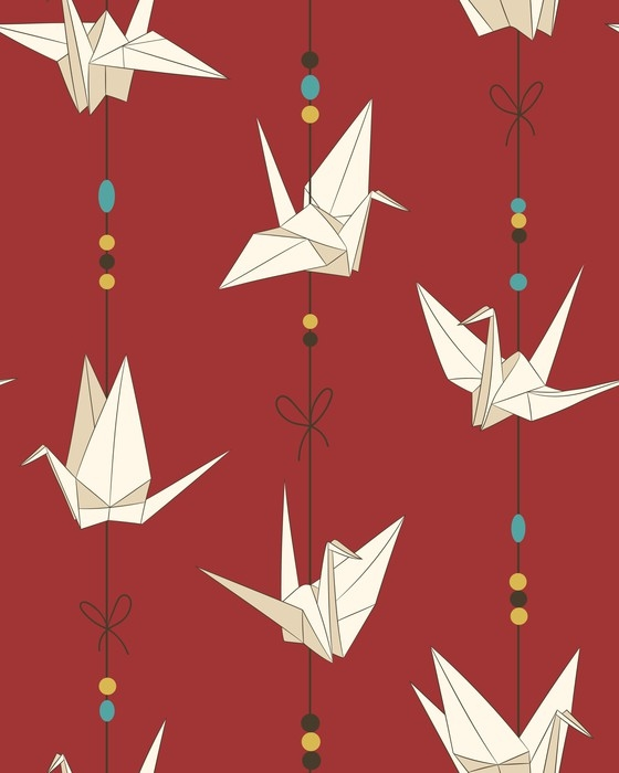 Seamless Vector Pattern With Paper Cranes Origami Bird Figure