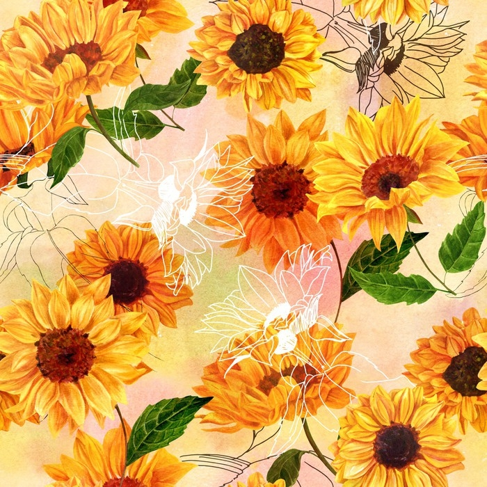 Seamless Pattern With Hand Drawn Watercolor Sunflowers Vinyl Wall Mural