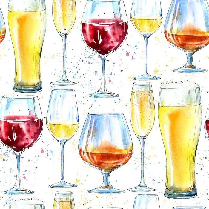 Fototapete nahtlose muster von champagner cognac wein bier und glas malerei eines - Wandfarbe champagner muster ...