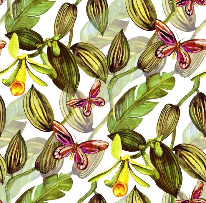 tapete nahtlose muster mit tropischen bl ttern und vanille. Black Bedroom Furniture Sets. Home Design Ideas