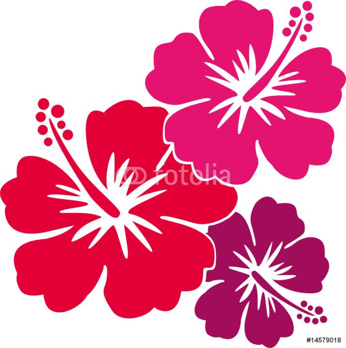 Hawaiiblumen rot Sticker - Pixerstick - Styles
