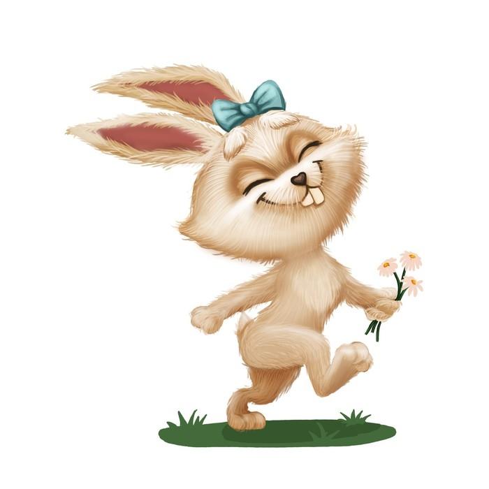 Fotomural Conejito peludo lindo feliz con flor - personaje de ...