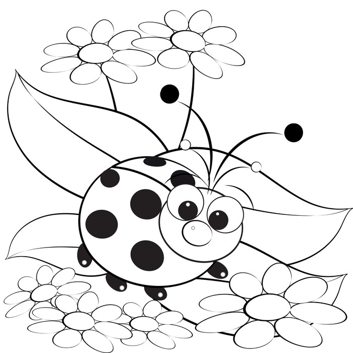 Fotobehang kleurplaat lieveheersbeestje en daisy for Cute ladybug coloring pages