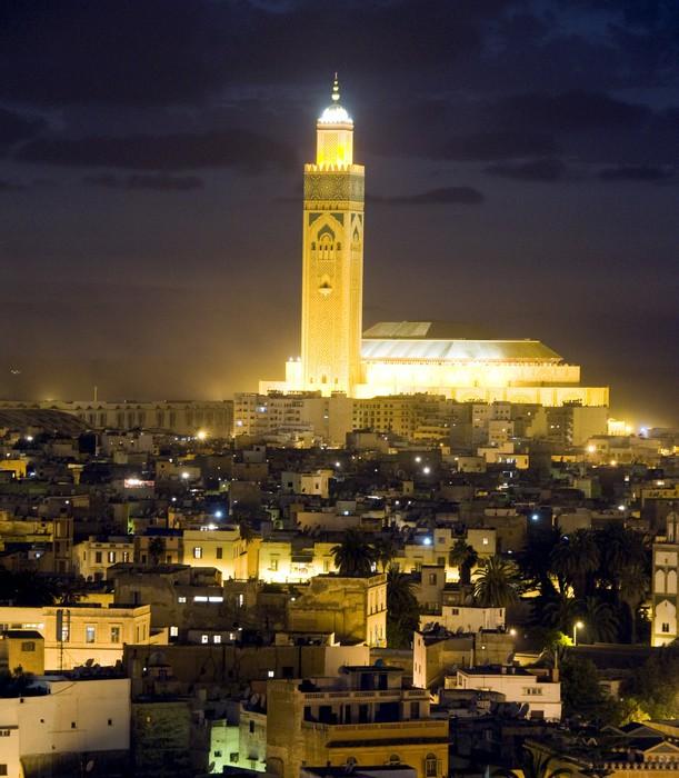 Vinylová Fototapeta Hassan II mešita noční scénu v Casablanca Maroko Africe - Vinylová Fototapeta