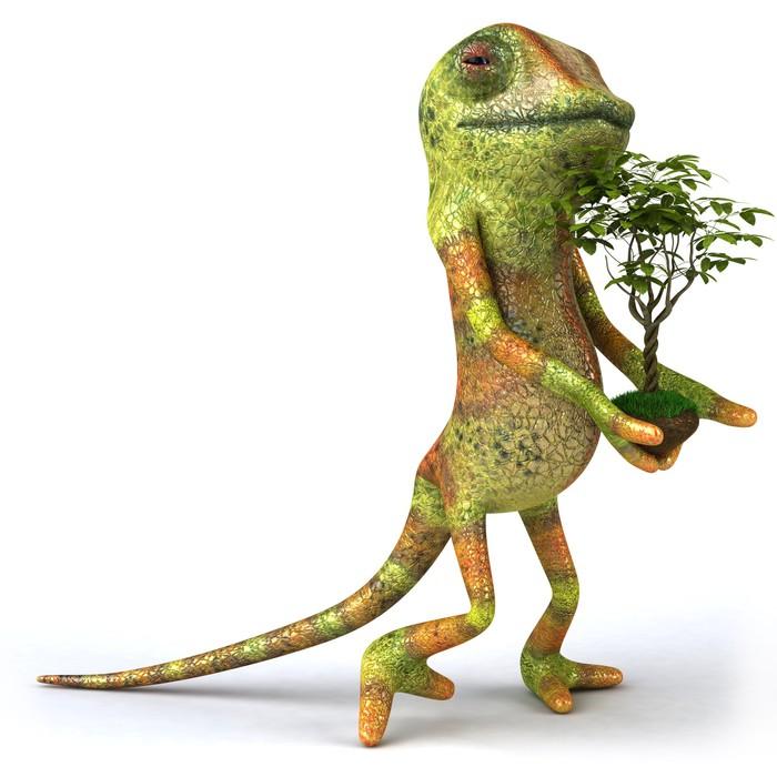 Vinylová Tapeta Chameleon avec une plante - Značky a symboly