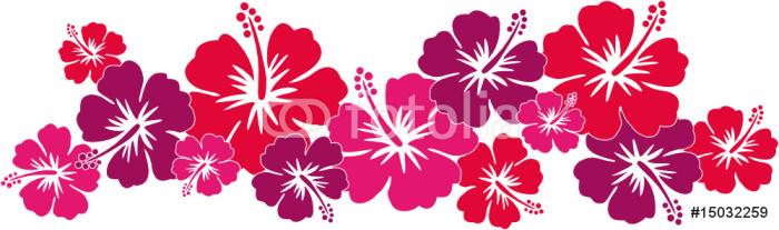 Hawaiiblumen rot (Bordüre) Sticker - Pixerstick - Holidays