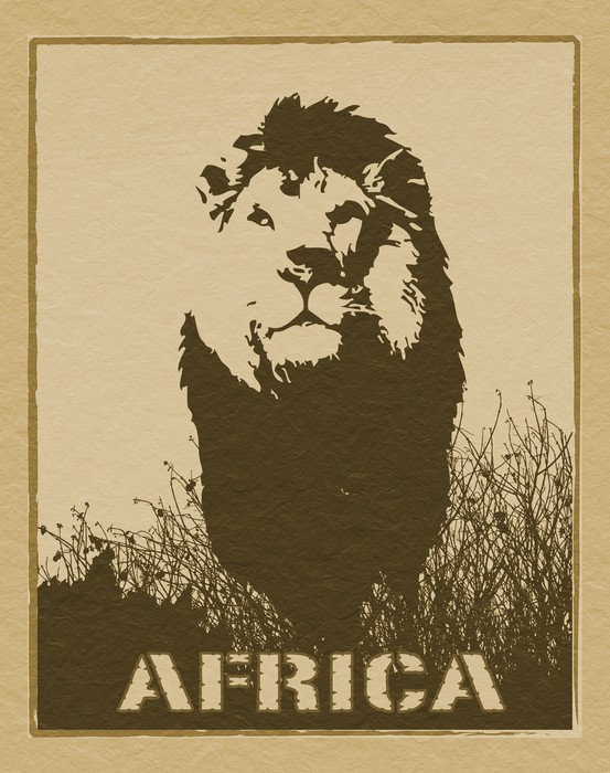 Africa image with lion silhouette Wall Mural • Pixers® • We live to ...