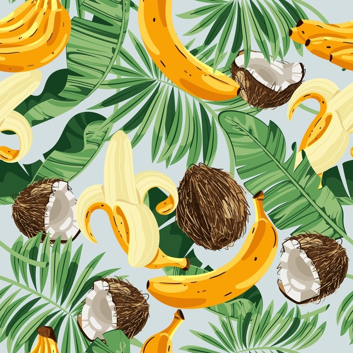 papier peint motifs mod le sans couture avec des feuilles de bananier des bananes et des noix. Black Bedroom Furniture Sets. Home Design Ideas
