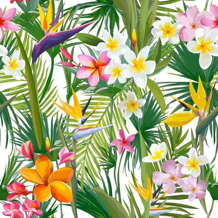 Tropical Palm Leaves And Flowers Jungle Leaves Seamless