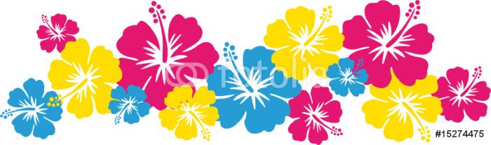 Hawaiiblumen pink, blau, gelb (Bordüre)