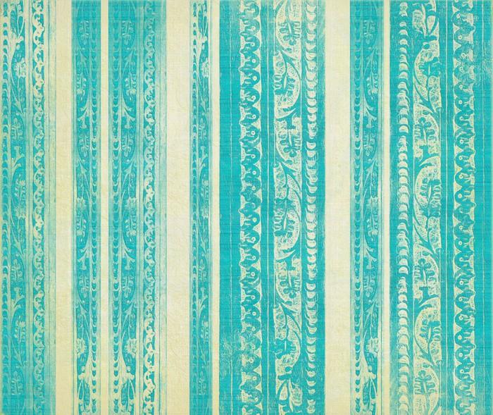 Vinylová Tapeta Modrá a bílá květinové dřeva vyřezávané pruhy - Témata