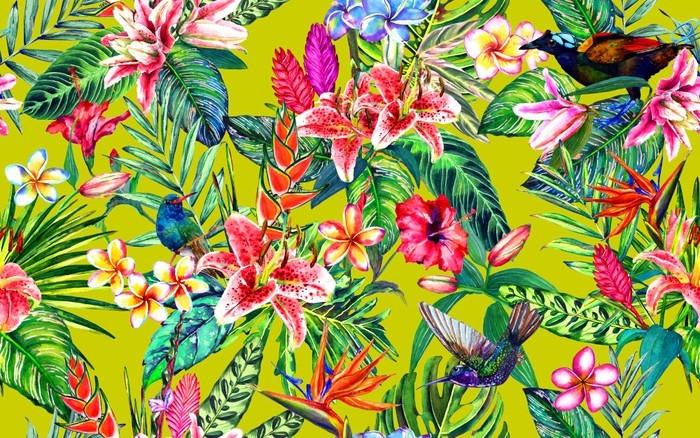 Papier Peint Motif Floral Tropical Sans Soudure Feuilles