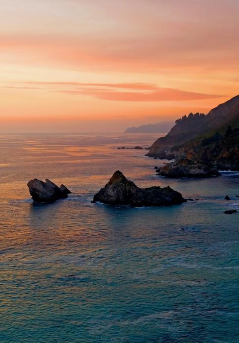 Vinylová Tapeta Západ slunce nad Kalifornie pobřeží - Voda