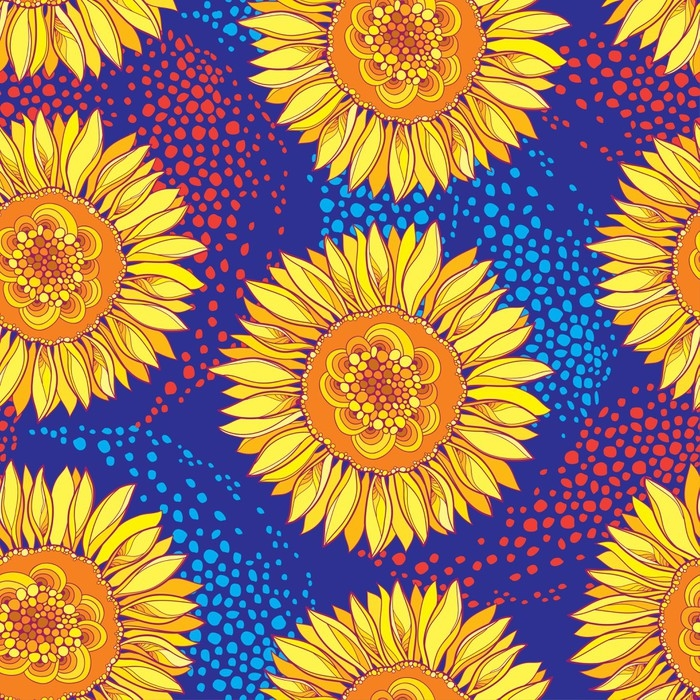 Vector seamless pattern with outline open Sunflower or Helianthus ...