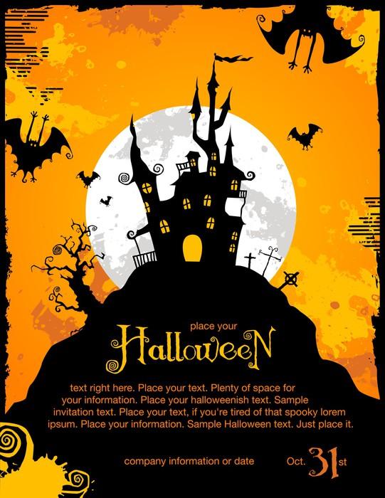 Mural de parede halloween party invitation or background with mural de parede em vinil halloween party invitation or background with haunted house celebraes internacionais stopboris Image collections