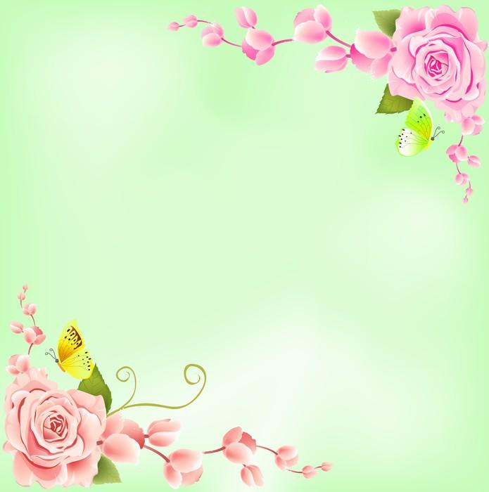 Vinylová Tapeta Růže na zeleném pozadí - Štěstí