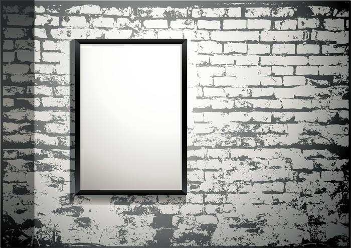 tableau sur toile exposition cadre blanc sur un vieux mur de brique pixers nous vivons. Black Bedroom Furniture Sets. Home Design Ideas