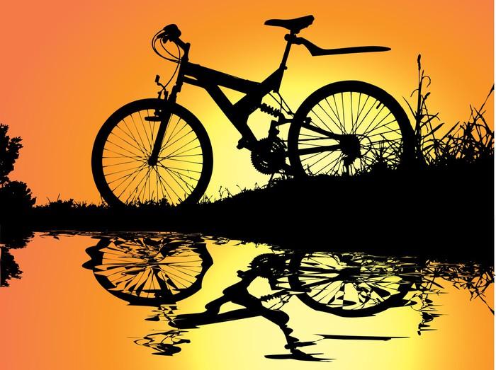 Nálepka Pixerstick Západ slunce u vody - Na cestě