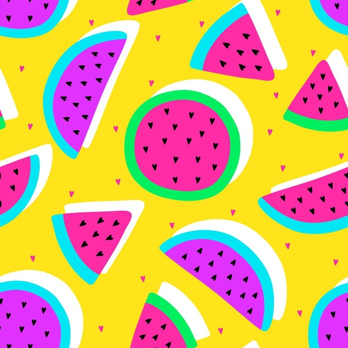 Vector seamless watermelon fruit crazy colors pattern. Watermelon ...
