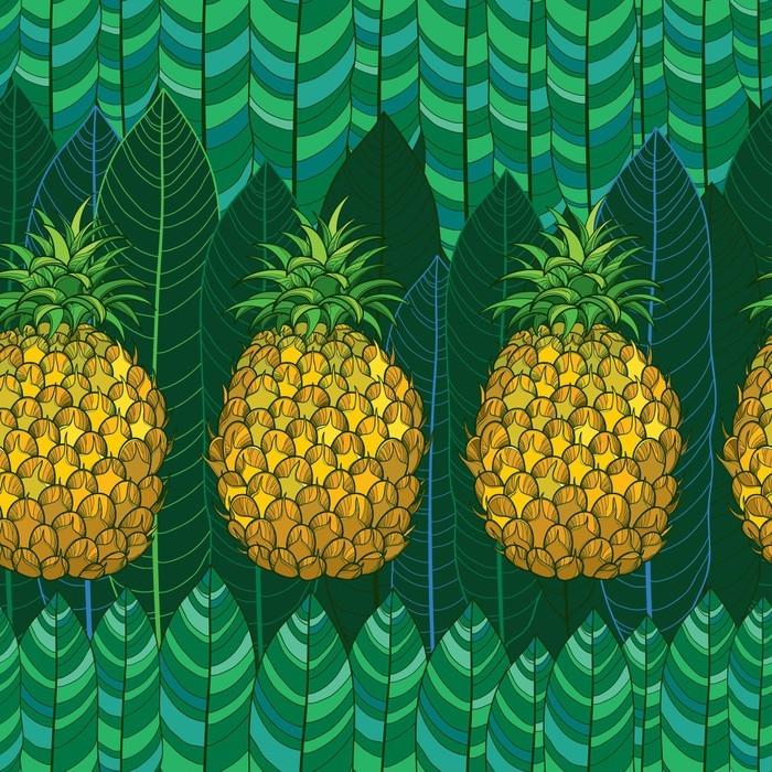 papier peint mod le sans couture de vecteur avec contour ananas jaunes ou ananas et feuilles de. Black Bedroom Furniture Sets. Home Design Ideas