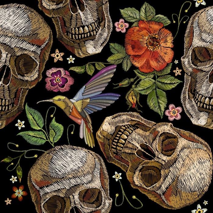 Fotomural Bordado de calavera y rosas, colibrí pájaro y flores de ...