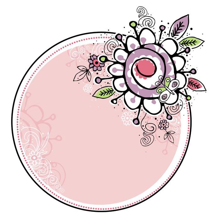 Vinilo Pixerstick Mano dibujar flores se combinan con el marco del ...