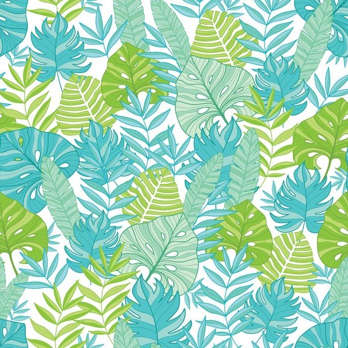 Papel pintado vector azul verde tropical hojas verano for Papel pintado hojas verdes