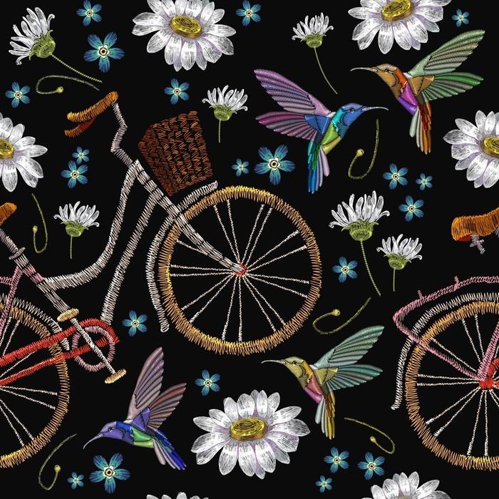 Vinilo Pixerstick Bordado bicicleta camomiles flores y colibríes de ...