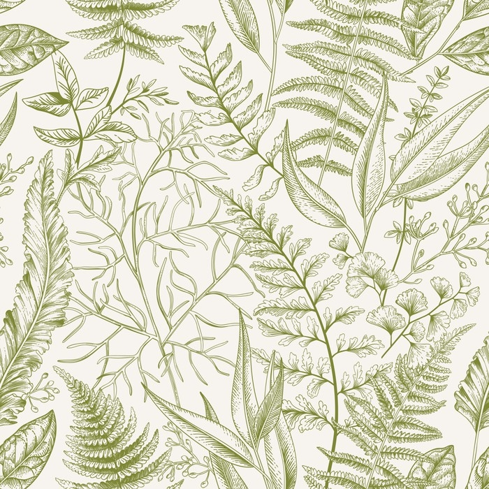 Seamless pattern with leaves. Vinyl Wall Mural - Graphic Resources