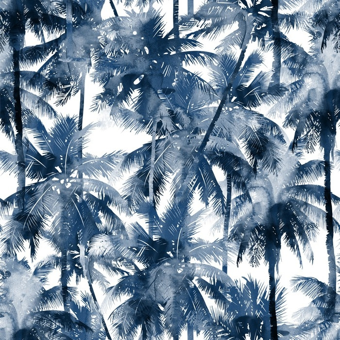 Fototapete Tropisches Aquarell Muster. Palmen und tropische Zweige ...