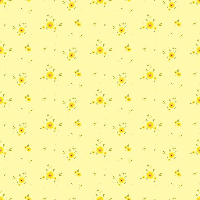 Seamless Floral Pattern. Background In Small Yellow