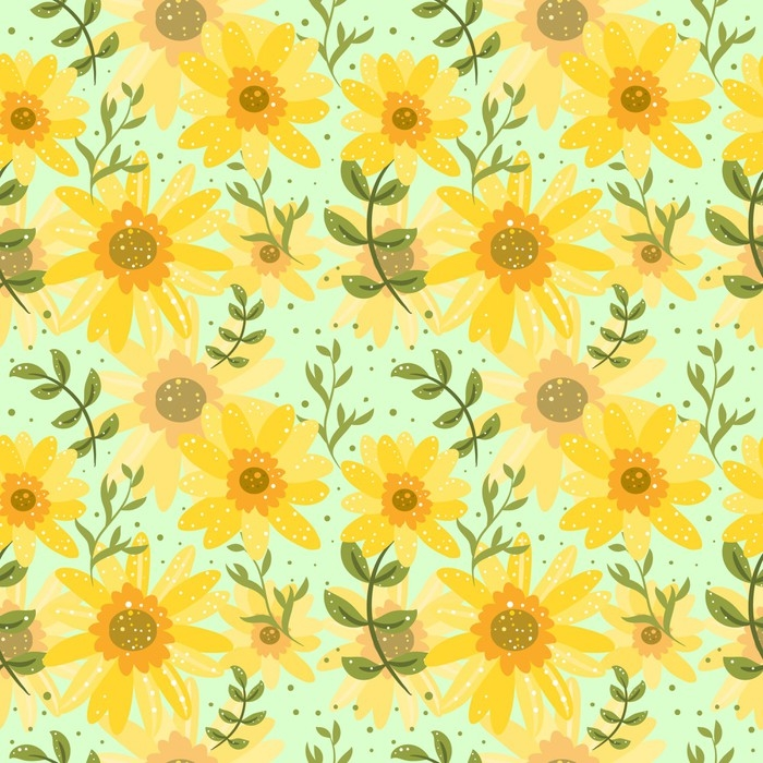 floral seamless background with daisy flowers childish pattern for