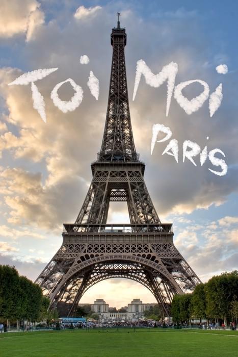 Vinylová Tapeta Láska v Paříži Eiffelova věž Francie Concept - Me and You - Štěstí