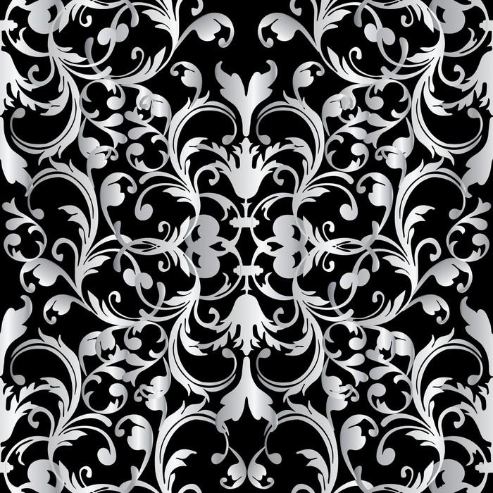 sticker mod le sans couture baroque floral fond noir. Black Bedroom Furniture Sets. Home Design Ideas