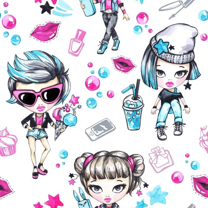 Vinylová Tapeta Akvarel bezešvé vzor s módní teenagery. okouzlující dívky se zmrzlinou a telefonem, grunge dívka s limonádou. letní ilustrace. bavte se. životní styl. lze použít v dětském designu. - Lidé