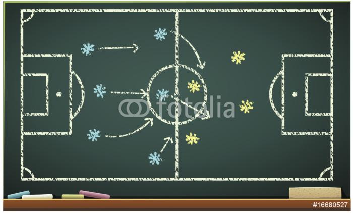 Papier Peint à Motifs Vinyle Tableau noir et les Tactiques du football (détouré) - Maisons et jardins