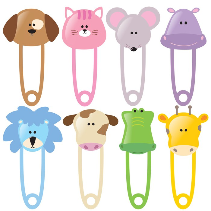 animal baby safety pins set 2 isolated wall mural pixers we