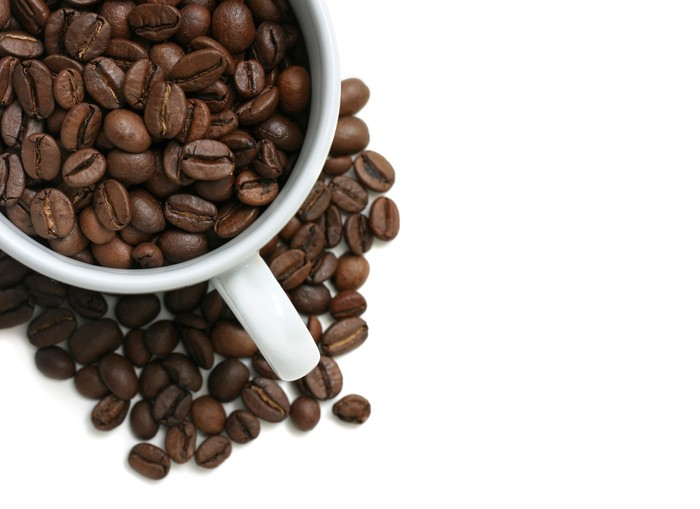 Tableau sur Toile Grains de café tasse - Thèmes