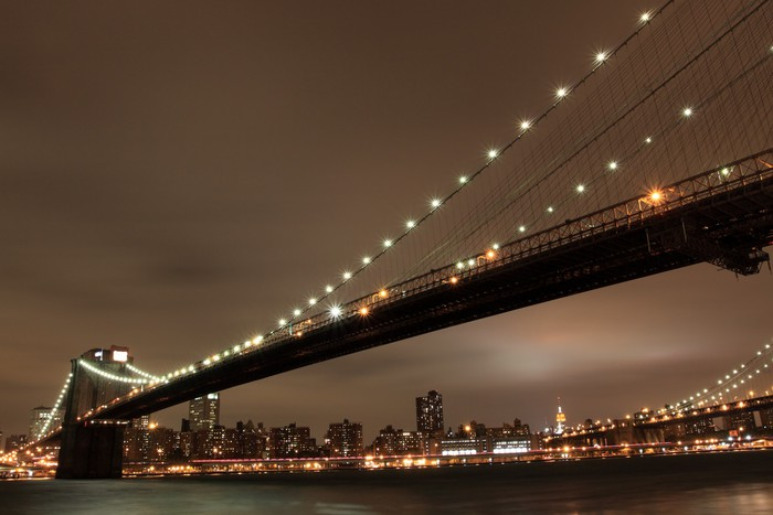 Tableau sur Toile Pont de Brooklyn et Manhattan Skyline At Night, New York City - Thèmes