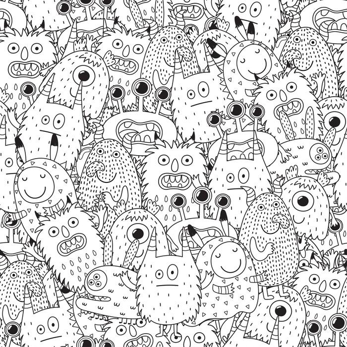 Fotomural Monstruos divertidos de patrones sin fisuras para colorear ...