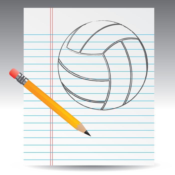 Cuadro en Lienzo Voleibol dibujado en lápiz sobre papel de cuaderno ...