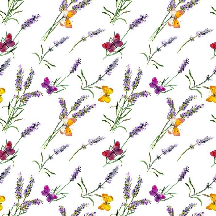 papier peint motifs fleurs de lavande papillons mod le. Black Bedroom Furniture Sets. Home Design Ideas