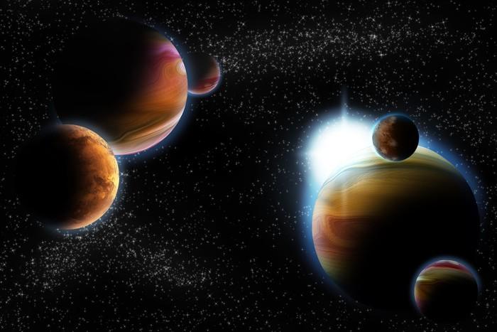 Nálepka Pixerstick Abstraktní planet s erupce Slunce v hlubokém vesmíru - hvězdy mlhoviny znovu - Meziplanetární prostor