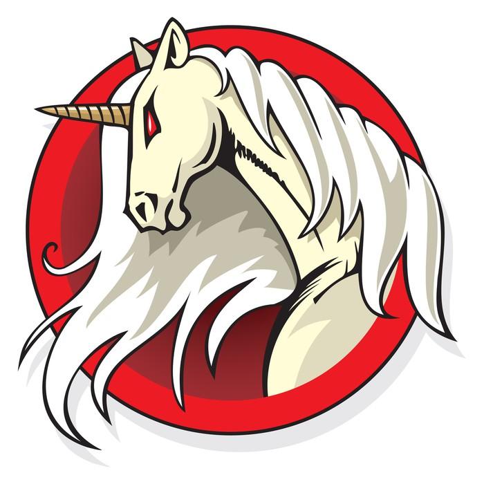 Aufkleber Stilisierte Unicorn Kopf in den runden Rahmen, Vektor ...