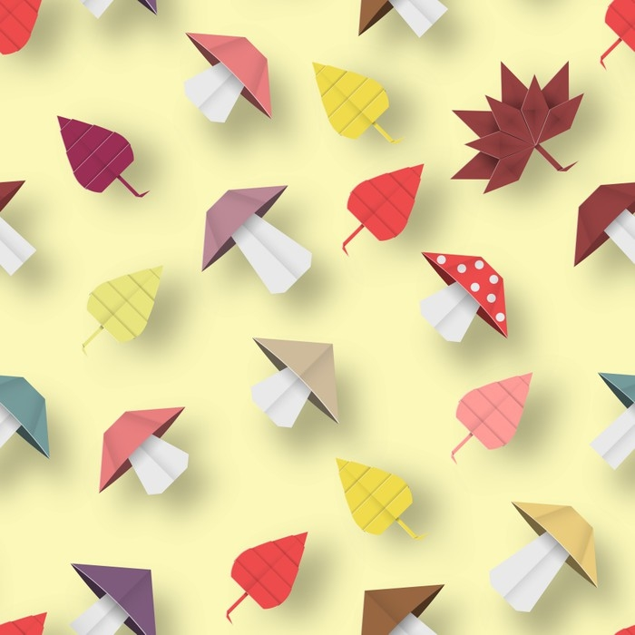 Autumn Origami Pattern. Wall Mural • Pixers® • We live to change