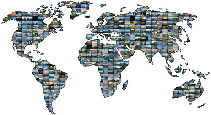 papier peint carte du monde collage pixers nous. Black Bedroom Furniture Sets. Home Design Ideas