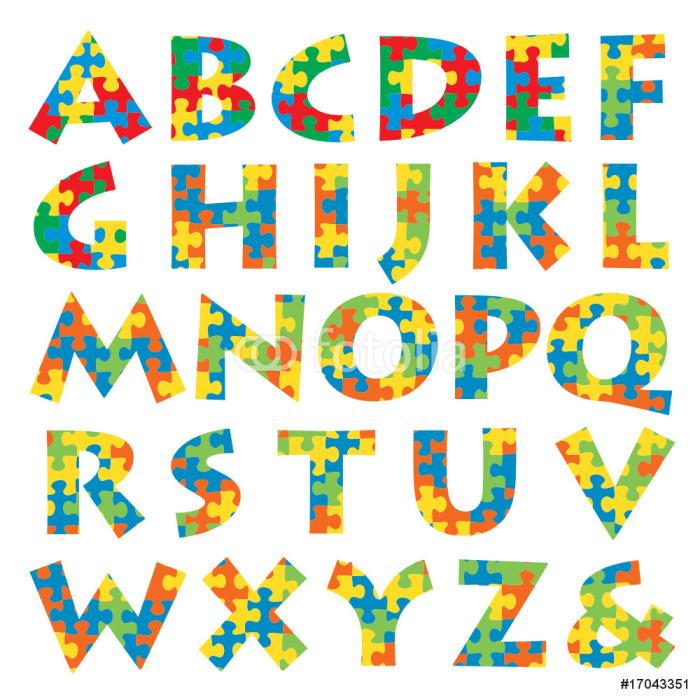 Vinylová Tapeta Puzzle abeceda - Značky a symboly