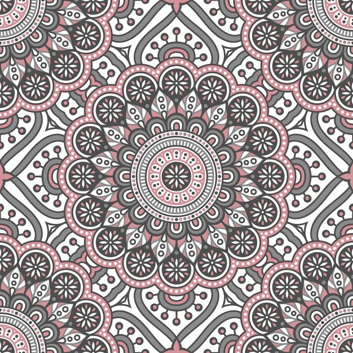 Ethnic Floral Seamless Pattern With Mandalas Vinyl Wall Mural